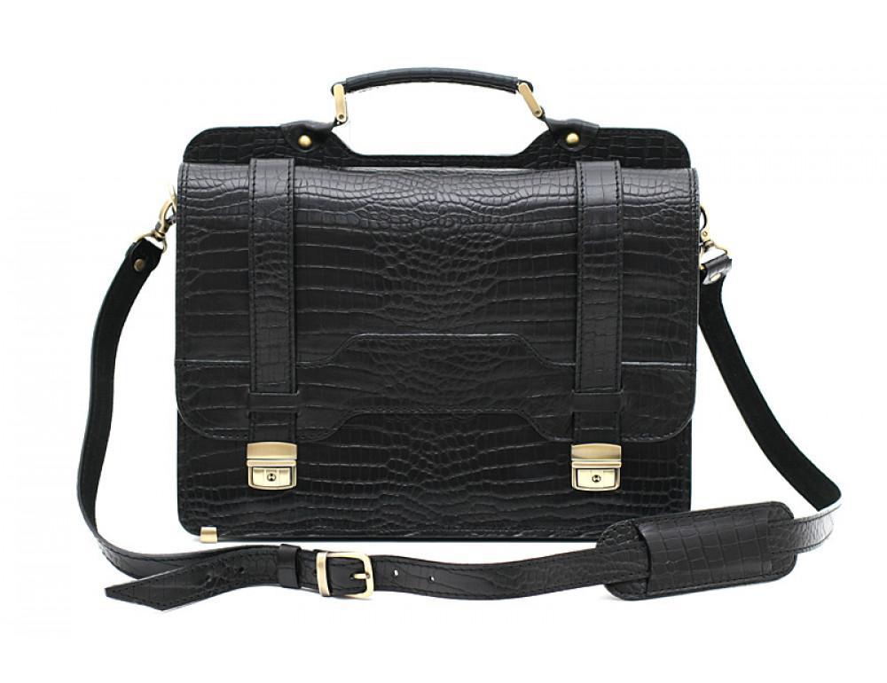 Чорний шкіряний портфель під крокодила Manufatto СПС-3 кроко