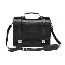 Черный кожаный портфель под крокодила Manufatto СПС-3 кроко