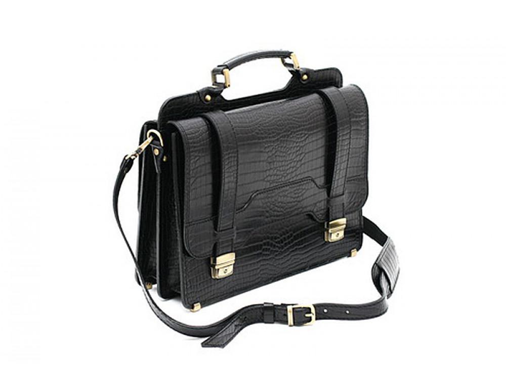 Черный кожаный портфель под крокодила Manufatto СПС-3 кроко - Фото № 2