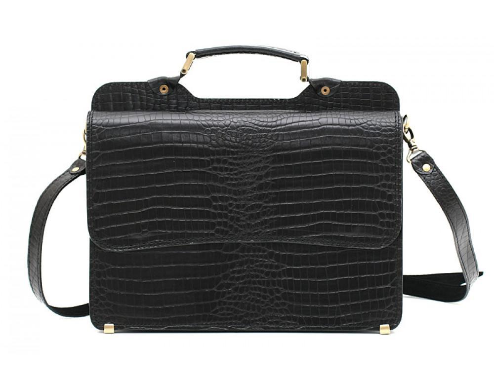 Черный кожаный портфель под крокодила Manufatto СПС-3 кроко - Фото № 3