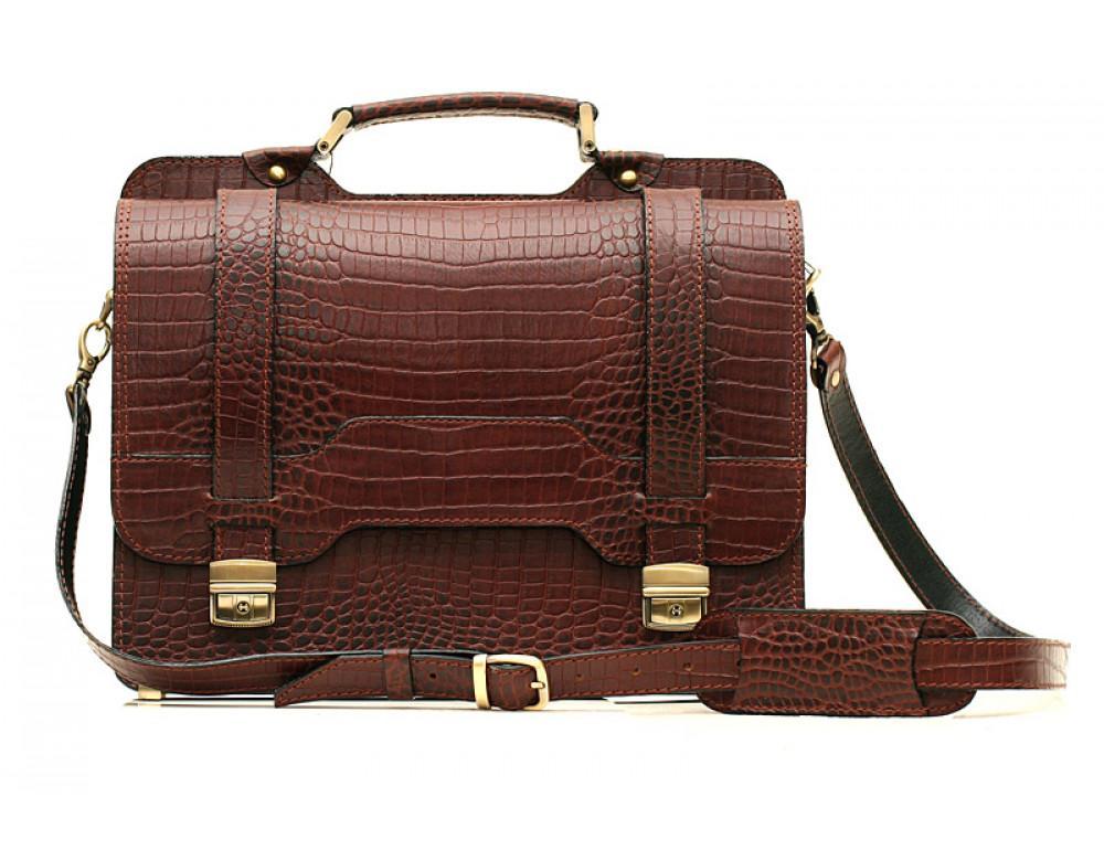 Коричневый мужской портфель из кожи под крокодила СПС-3C кроко - Фото № 2