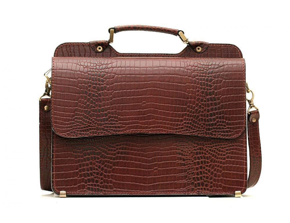 Коричневый мужской портфель из кожи под крокодила СПС-3C кроко - Фото № 3