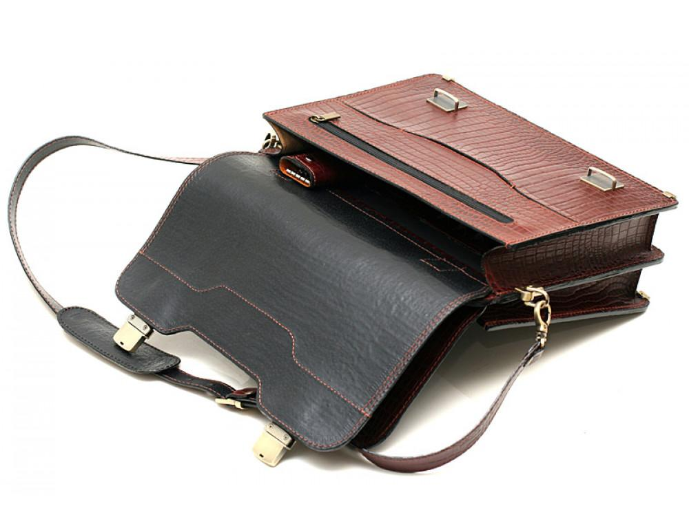 Коричневый мужской портфель из кожи под крокодила СПС-3C кроко - Фото № 4