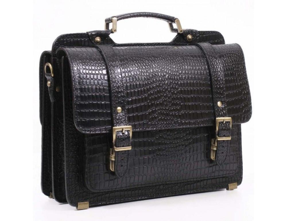 Черный мужской портфель из кожи под крокодила СПС-4 кроко - Фото № 1
