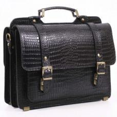 Черный мужской портфель из кожи под крокодила СПС-4 кроко