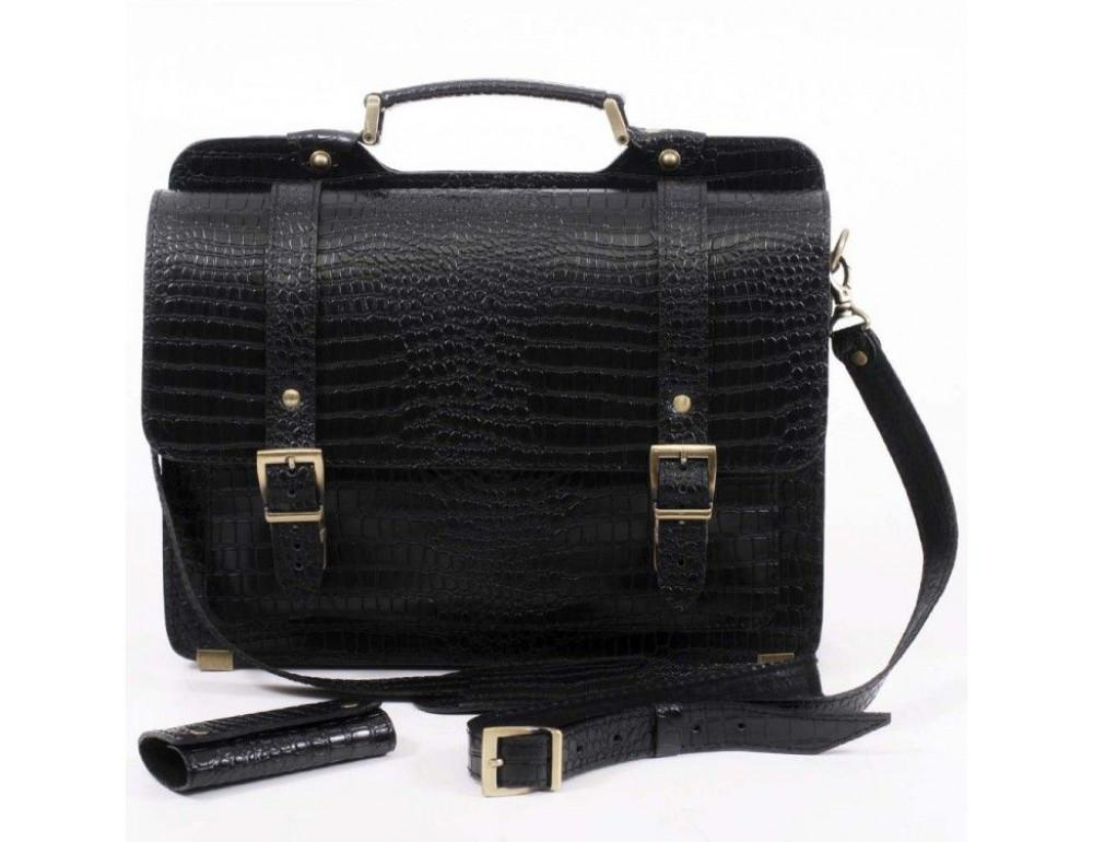 Черный мужской портфель из кожи под крокодила СПС-4 кроко - Фото № 3