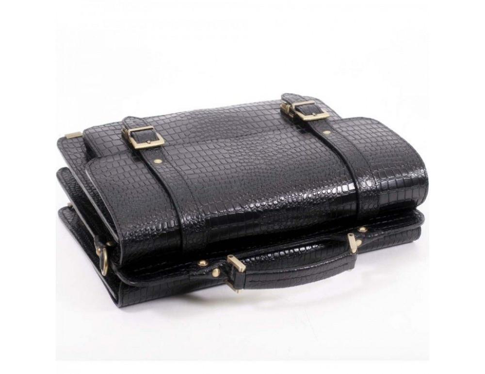 Черный мужской портфель из кожи под крокодила СПС-4 кроко - Фото № 4