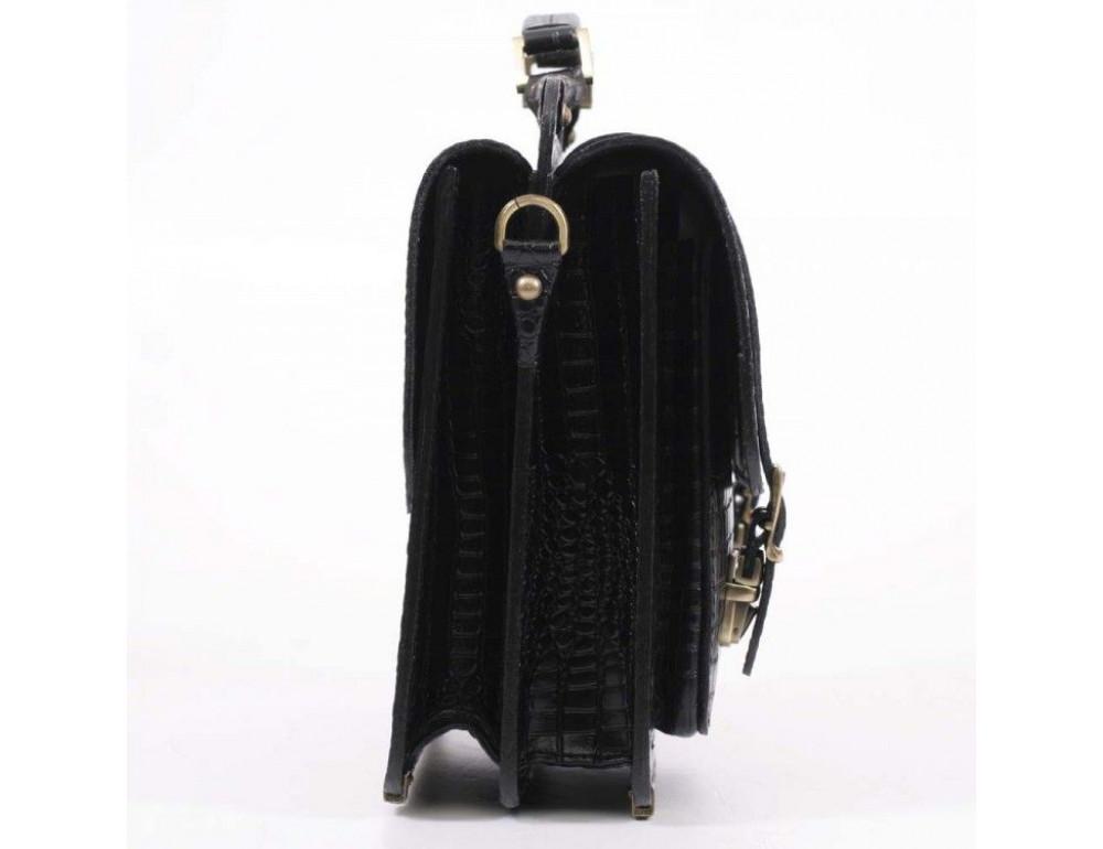 Черный мужской портфель из кожи под крокодила СПС-4 кроко - Фото № 5