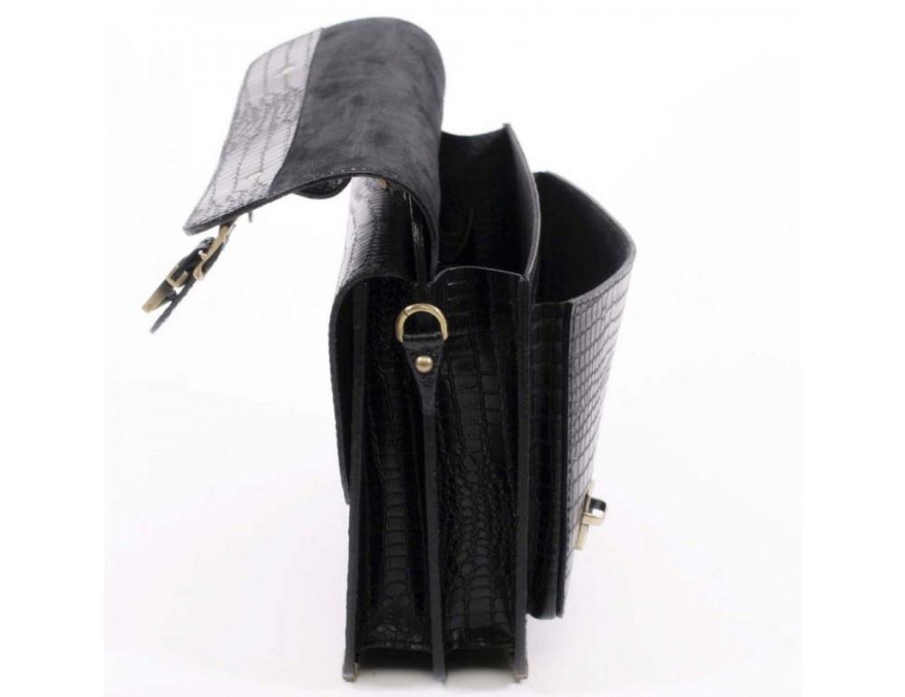 Черный мужской портфель из кожи под крокодила СПС-4 кроко - Фото № 6