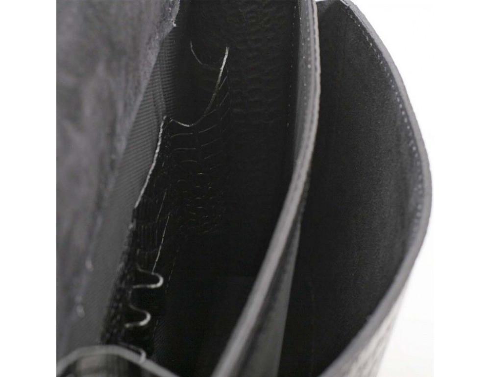 Черный мужской портфель из кожи под крокодила СПС-4 кроко - Фото № 7