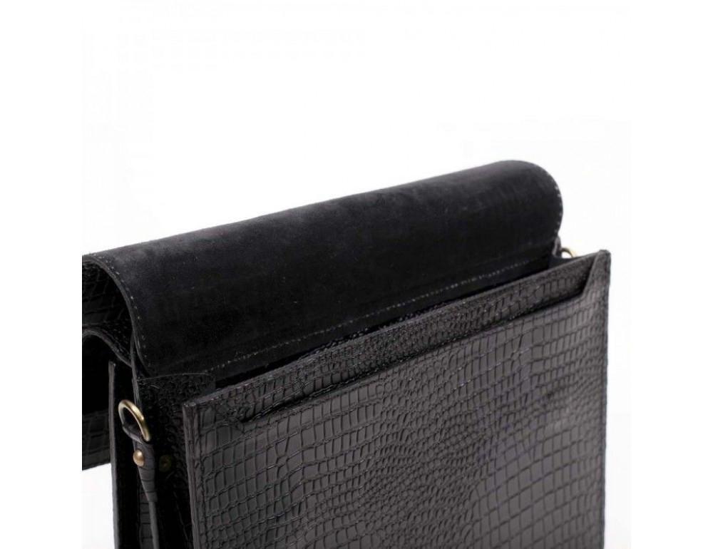 Черный мужской портфель из кожи под крокодила СПС-4 кроко - Фото № 8