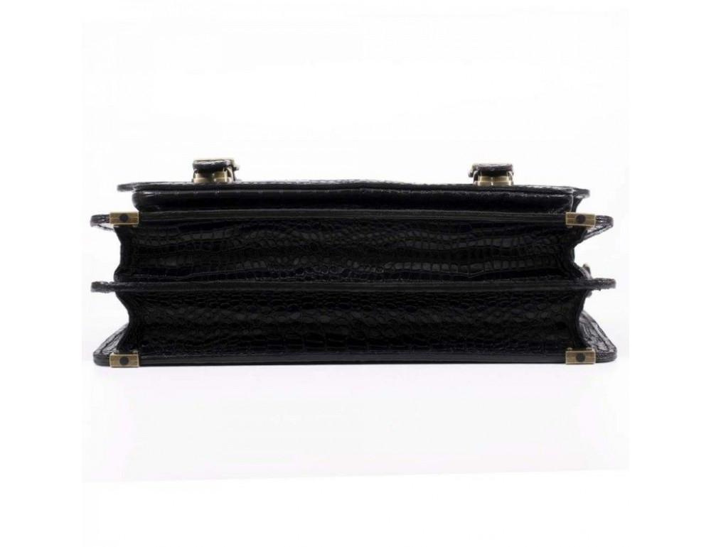 Черный мужской портфель из кожи под крокодила СПС-4 кроко - Фото № 9