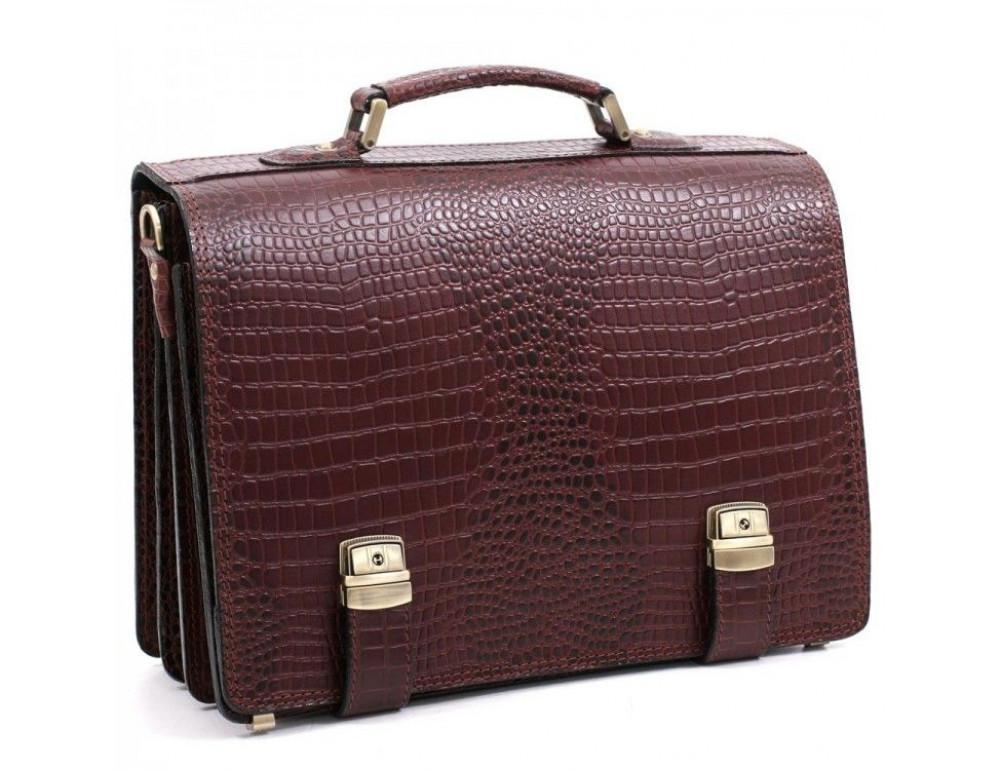 Коричневый мужской портфель под кожу крокодила Manufatto ТМ-1C кроко - Фото № 1