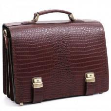 Коричневый мужской портфель под кожу крокодила Manufatto ТМ-1C кроко