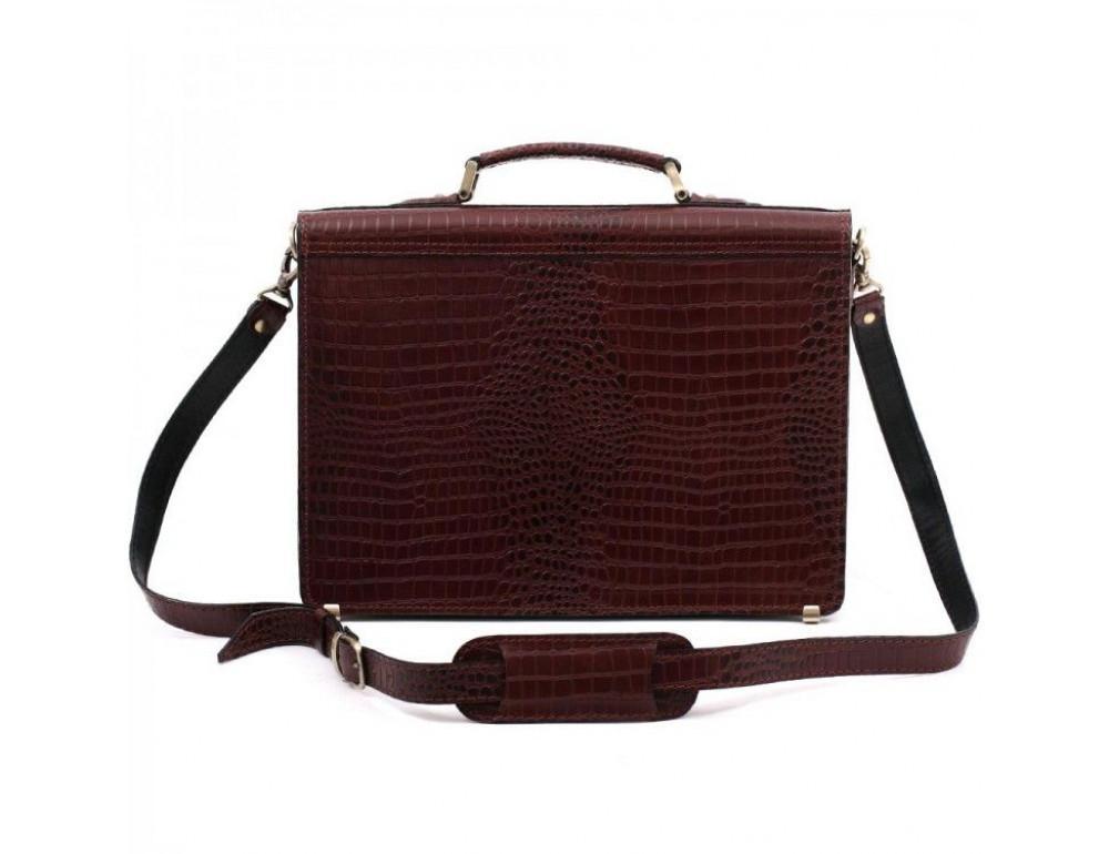 Коричневый мужской портфель под кожу крокодила Manufatto ТМ-1C кроко - Фото № 2