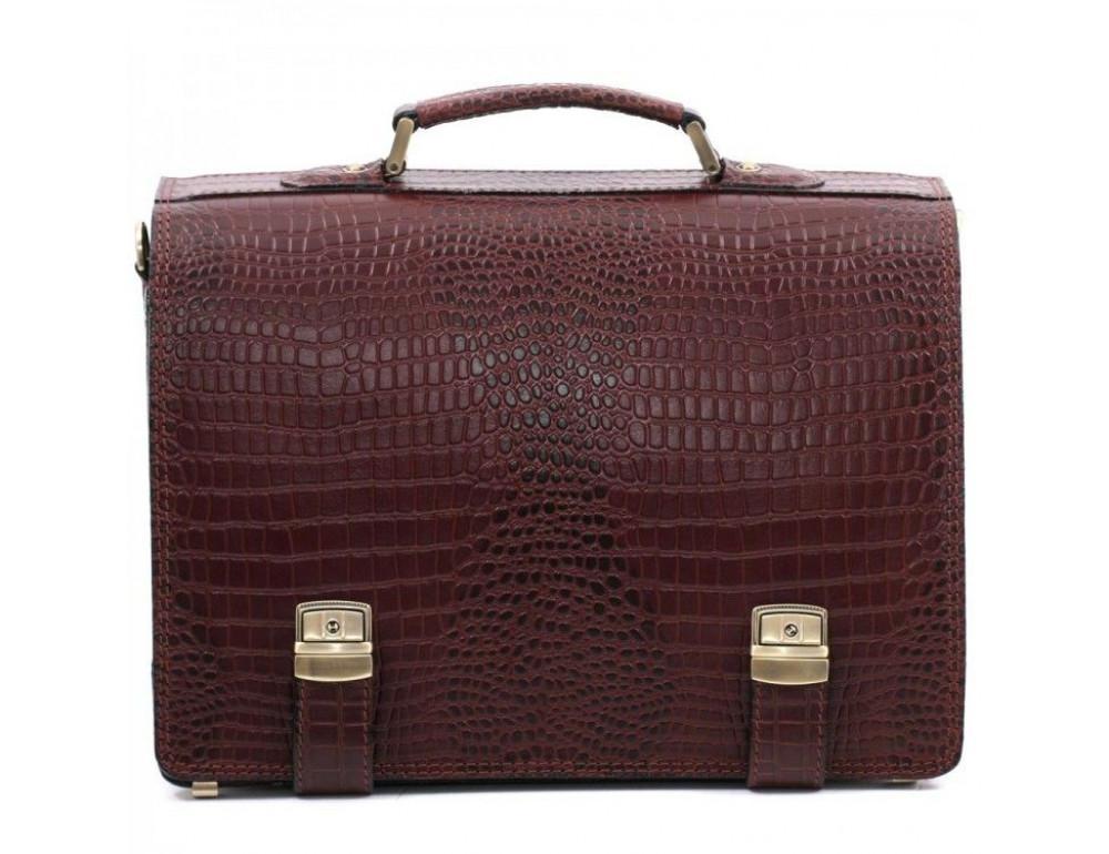 Коричневый мужской портфель под кожу крокодила Manufatto ТМ-1C кроко - Фото № 3