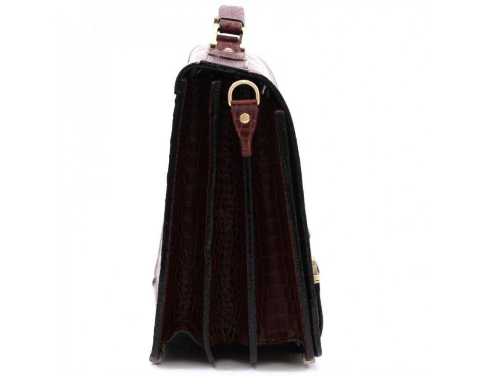 Коричневый мужской портфель под кожу крокодила Manufatto ТМ-1C кроко - Фото № 4