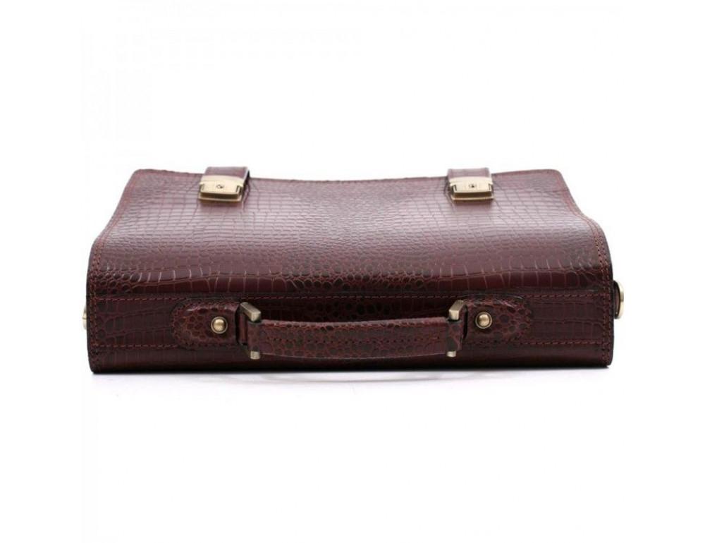 Коричневый мужской портфель под кожу крокодила Manufatto ТМ-1C кроко - Фото № 5