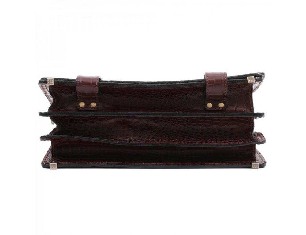 Коричневый мужской портфель под кожу крокодила Manufatto ТМ-1C кроко - Фото № 6