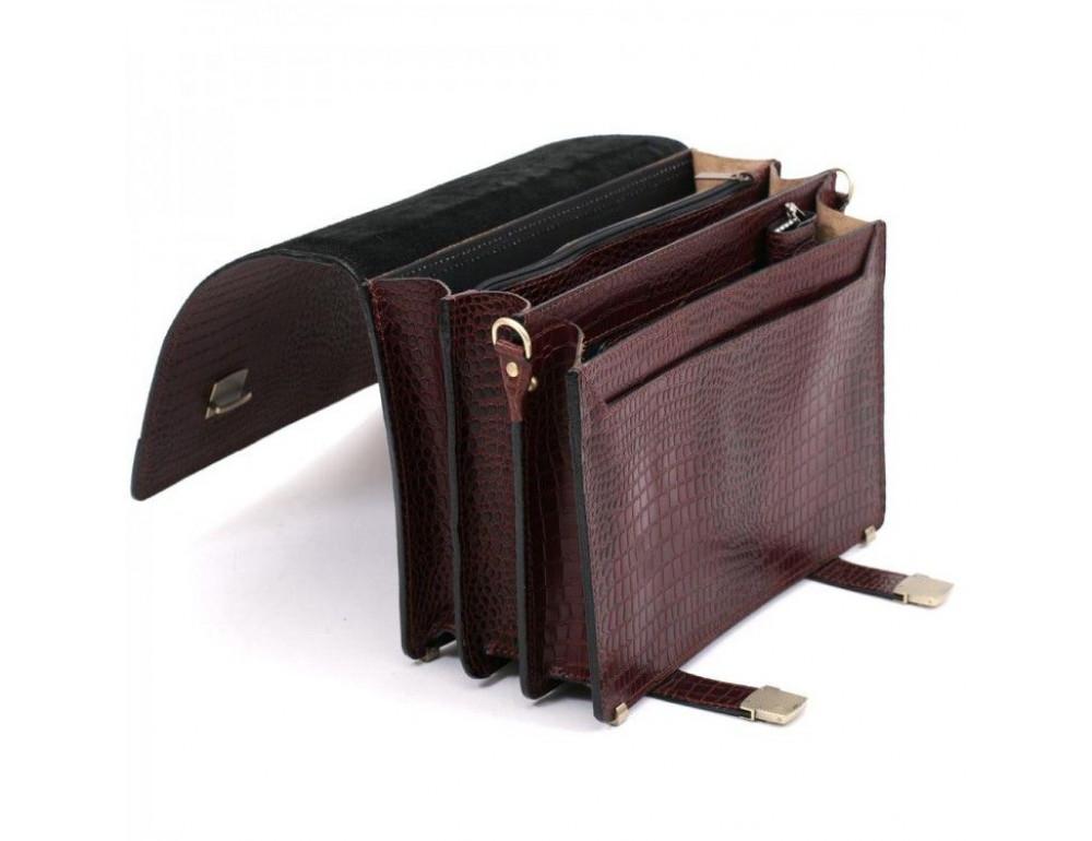 Коричневый мужской портфель под кожу крокодила Manufatto ТМ-1C кроко - Фото № 7