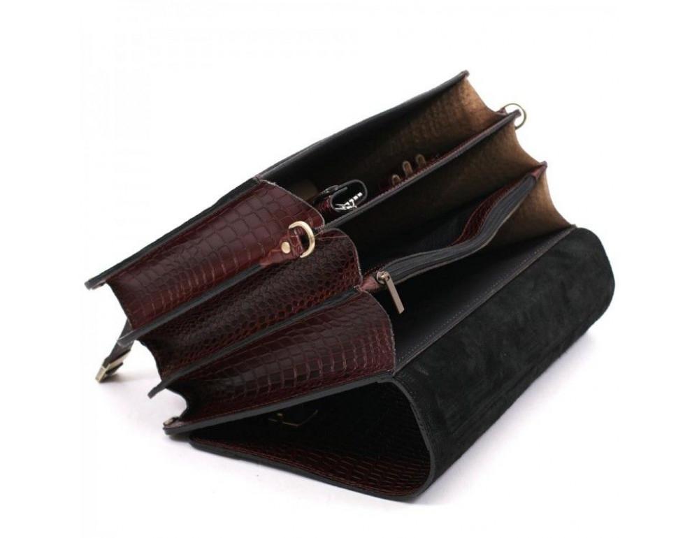Коричневый мужской портфель под кожу крокодила Manufatto ТМ-1C кроко - Фото № 8