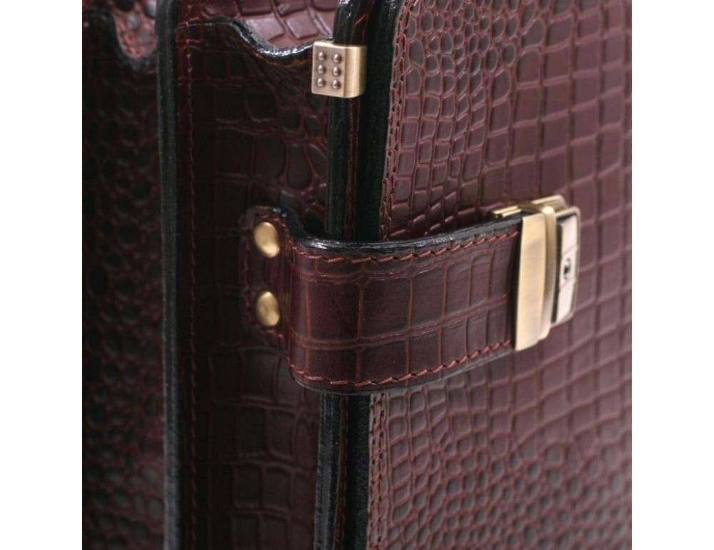 Коричневый мужской портфель под кожу крокодила Manufatto ТМ-1C кроко - Фото № 9