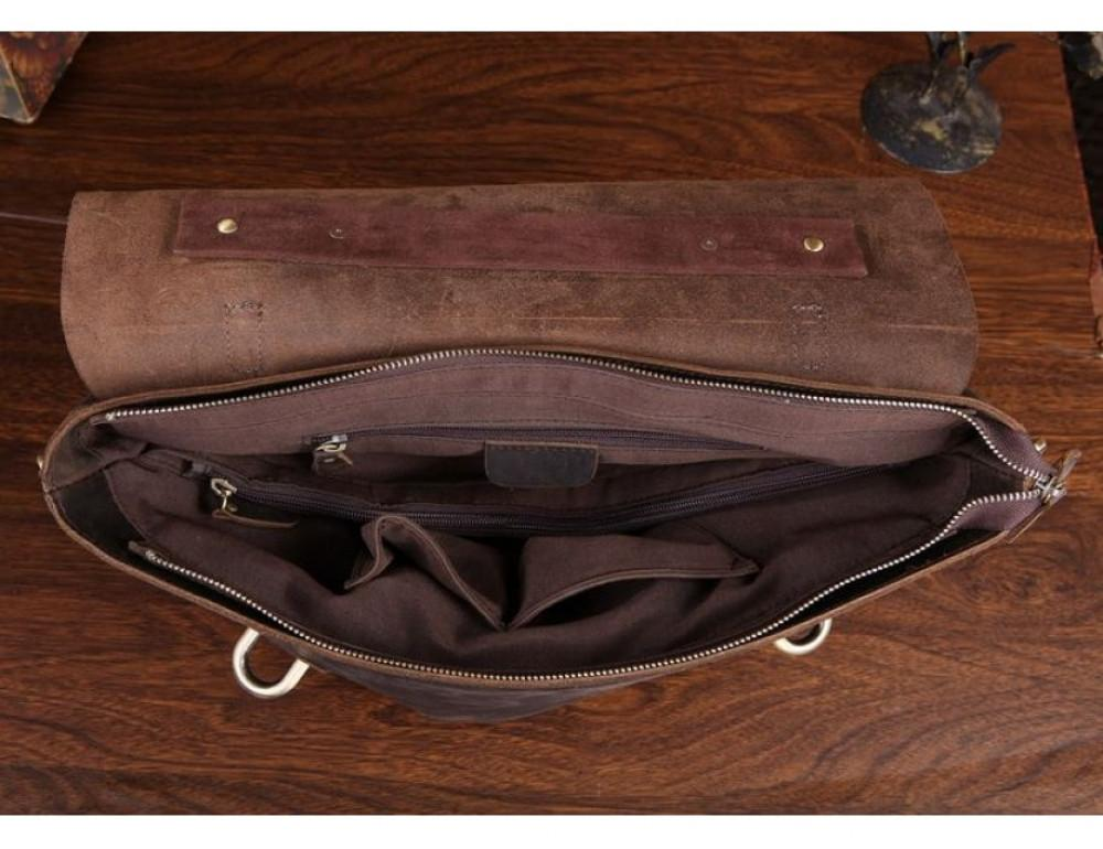 Мужской кожаный портфель TIDING BAG 7082R-1 коричневая - Фото № 2
