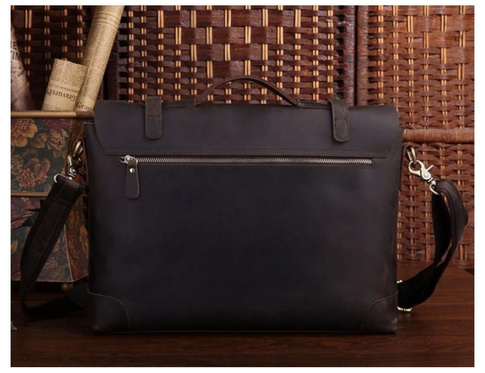 Мужской кожаный портфель TIDING BAG 7082R-1 коричневая - Фото № 3