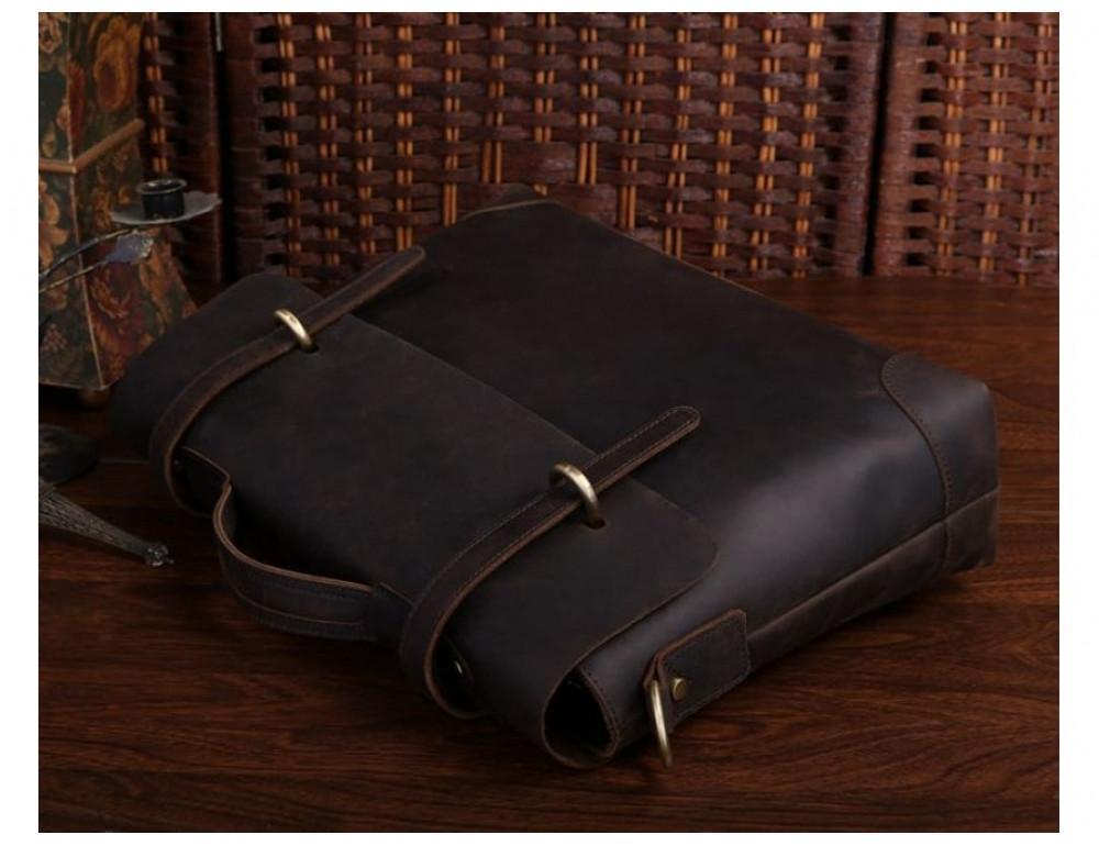 Мужской кожаный портфель TIDING BAG 7082R-1 коричневая - Фото № 4