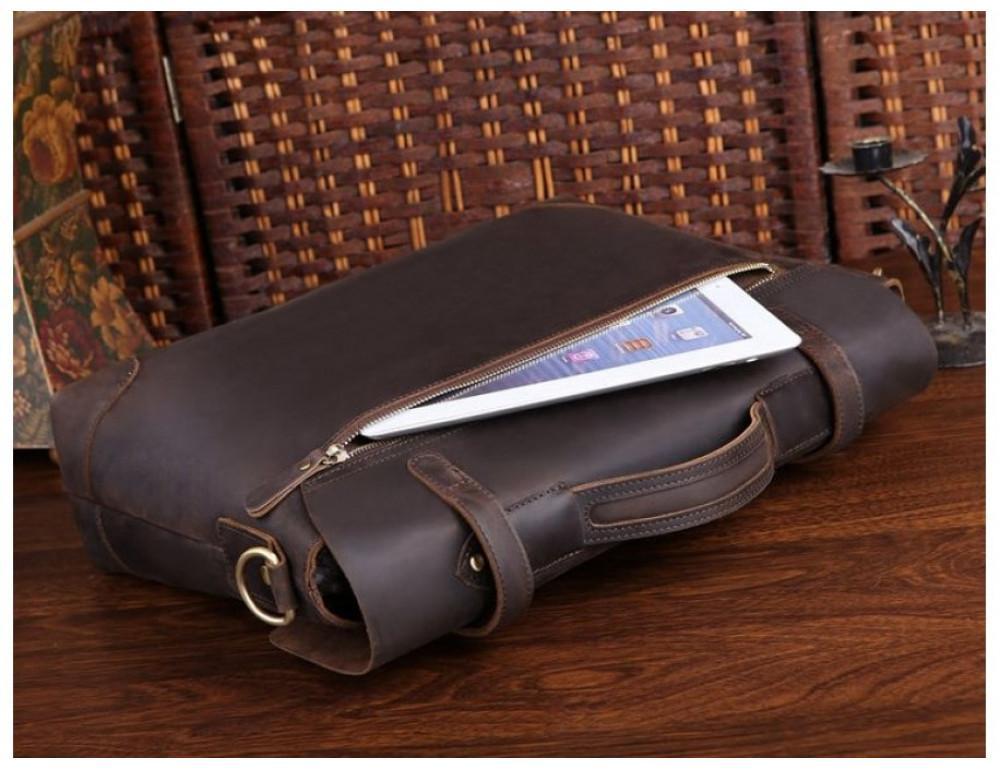 Мужской кожаный портфель TIDING BAG 7082R-1 коричневая - Фото № 5