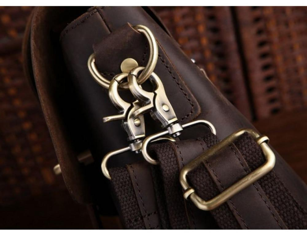 Мужской кожаный портфель TIDING BAG 7082R-1 коричневая - Фото № 6