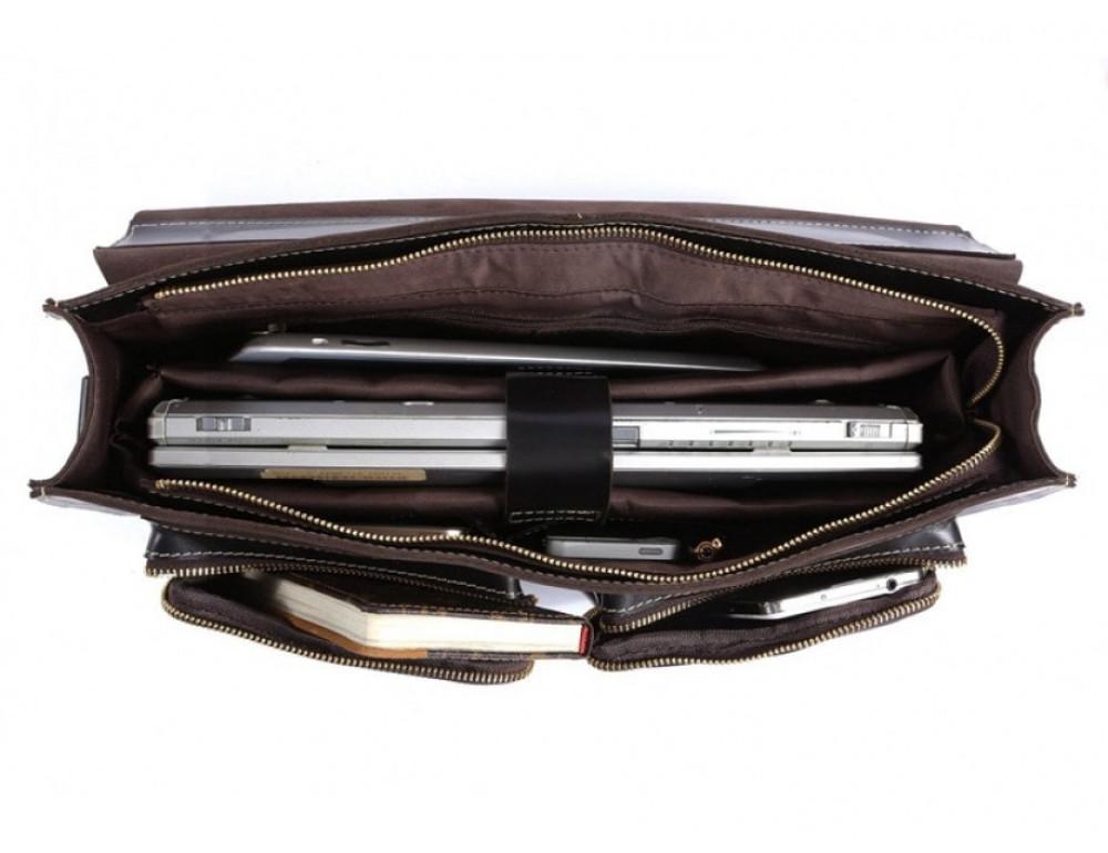 Кожаный портфель TIDING BAG 7105A чёрный - Фото № 2