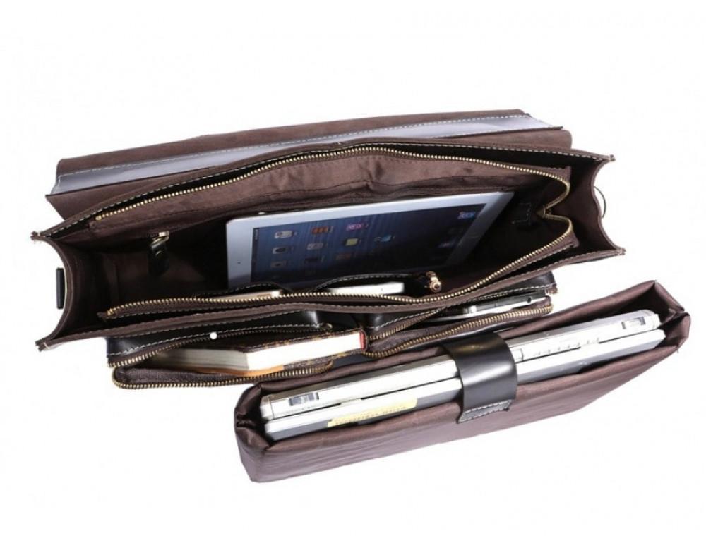 Кожаный портфель TIDING BAG 7105A чёрный - Фото № 5