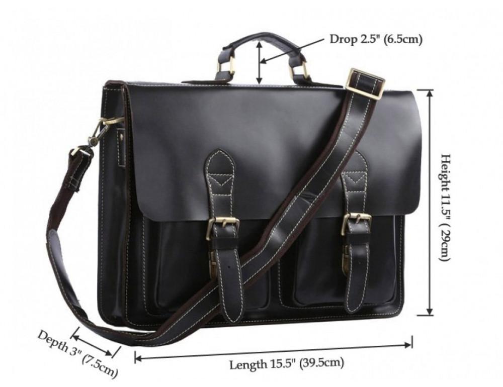 Кожаный портфель TIDING BAG 7105A чёрный - Фото № 6