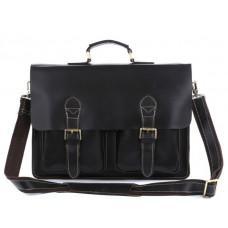 Кожаный портфель TIDING BAG 7105A чёрный