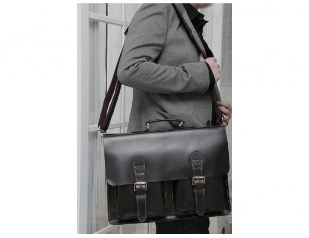 Кожаный портфель TIDING BAG 7105A чёрный - Фото № 8
