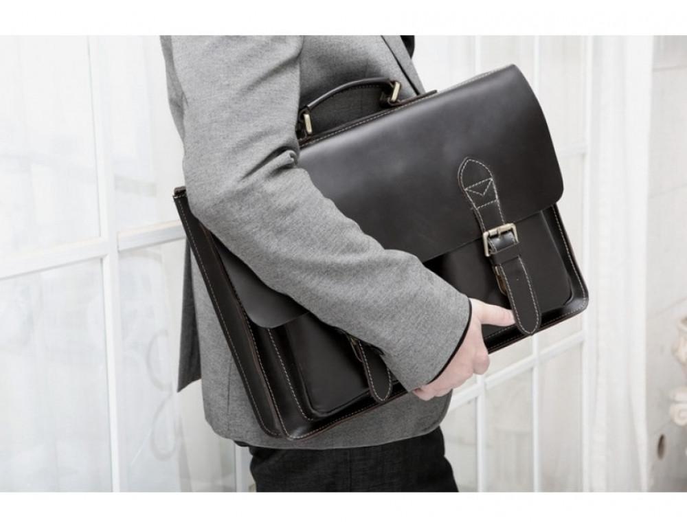 Кожаный портфель TIDING BAG 7105A чёрный - Фото № 9