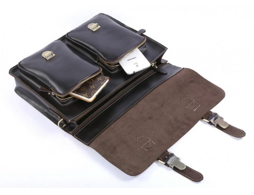 Кожаный портфель TIDING BAG 7105A чёрный - Фото № 10