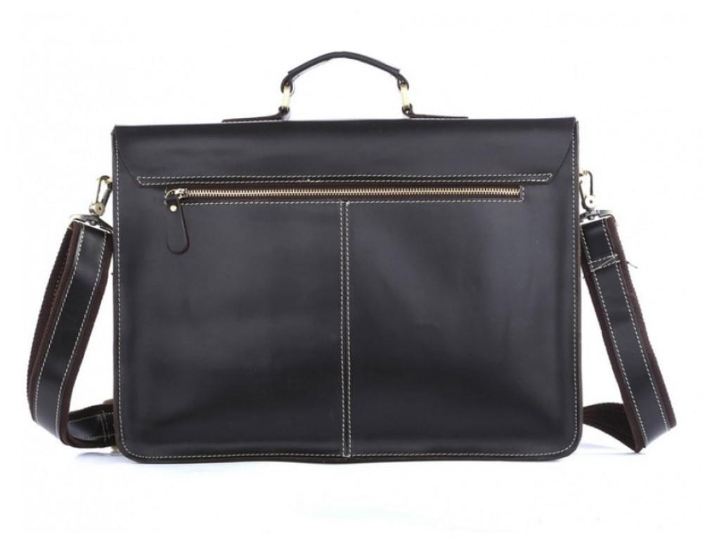 Кожаный портфель TIDING BAG 7105A чёрный - Фото № 11