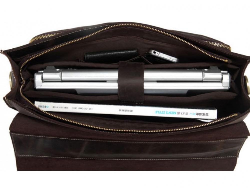 Кожаный портфель TIDING BAG 7105R тёмно-коричневый - Фото № 2