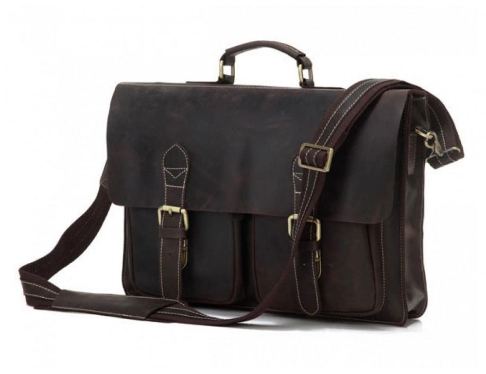 Кожаный портфель TIDING BAG 7105R тёмно-коричневый - Фото № 1