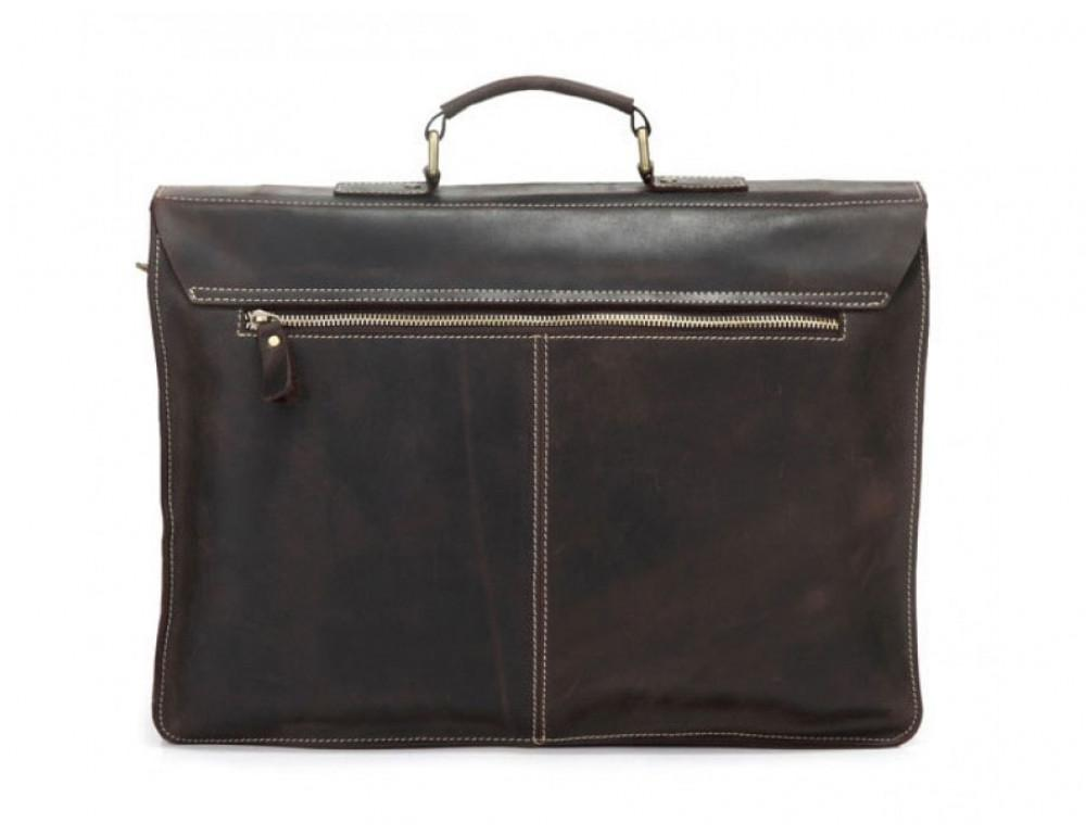 Кожаный портфель TIDING BAG 7105R тёмно-коричневый - Фото № 3