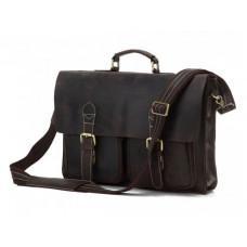 Шкіряний портфель TIDING BAG 7105R темно-коричневий