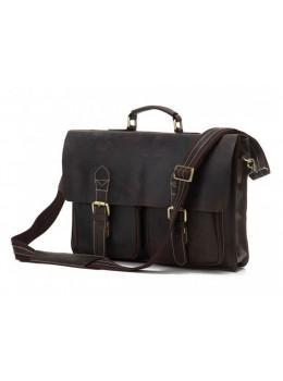 Кожаный портфель TIDING BAG 7105R тёмно-коричневый
