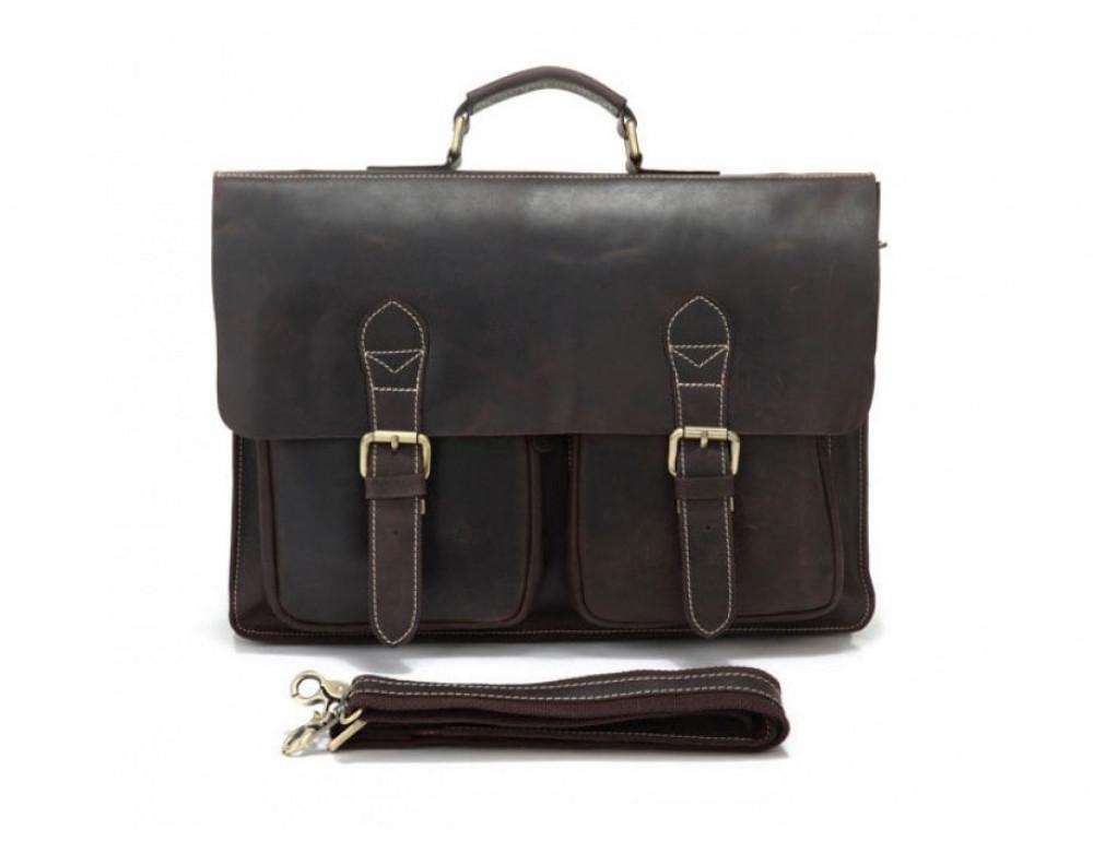 Кожаный портфель TIDING BAG 7105R тёмно-коричневый - Фото № 4