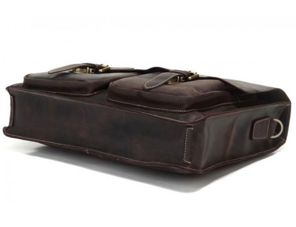 Кожаный портфель TIDING BAG 7105R тёмно-коричневый - Фото № 5