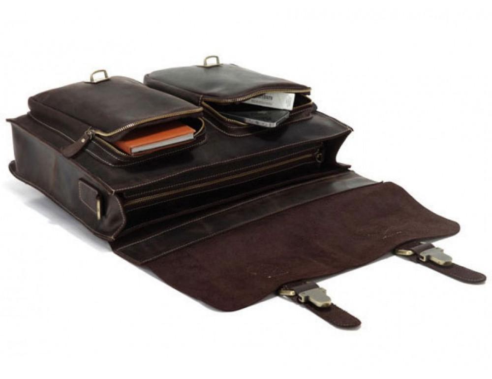 Кожаный портфель TIDING BAG 7105R тёмно-коричневый - Фото № 6