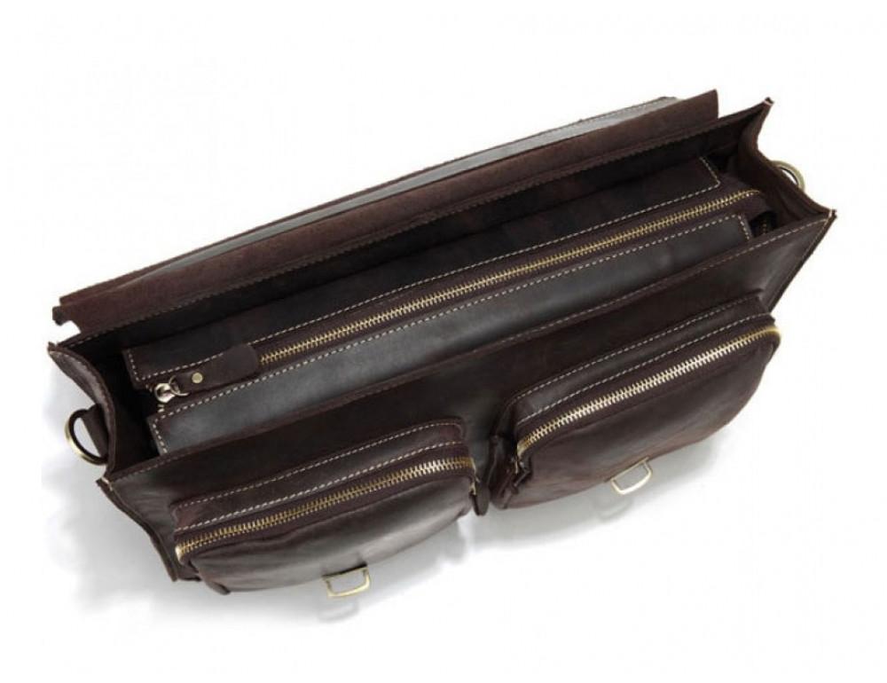 Кожаный портфель TIDING BAG 7105R тёмно-коричневый - Фото № 7