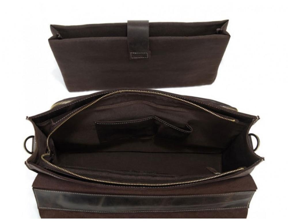Кожаный портфель TIDING BAG 7105R тёмно-коричневый - Фото № 8