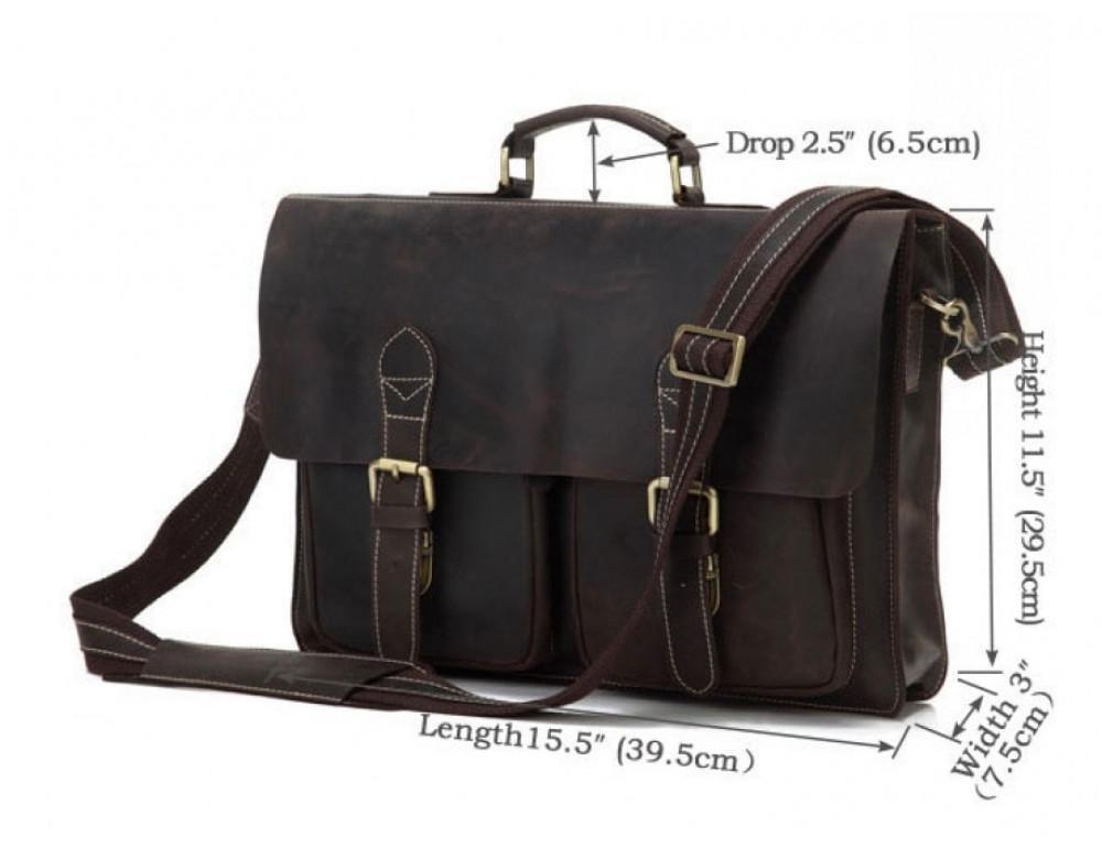 Кожаный портфель TIDING BAG 7105R тёмно-коричневый - Фото № 9
